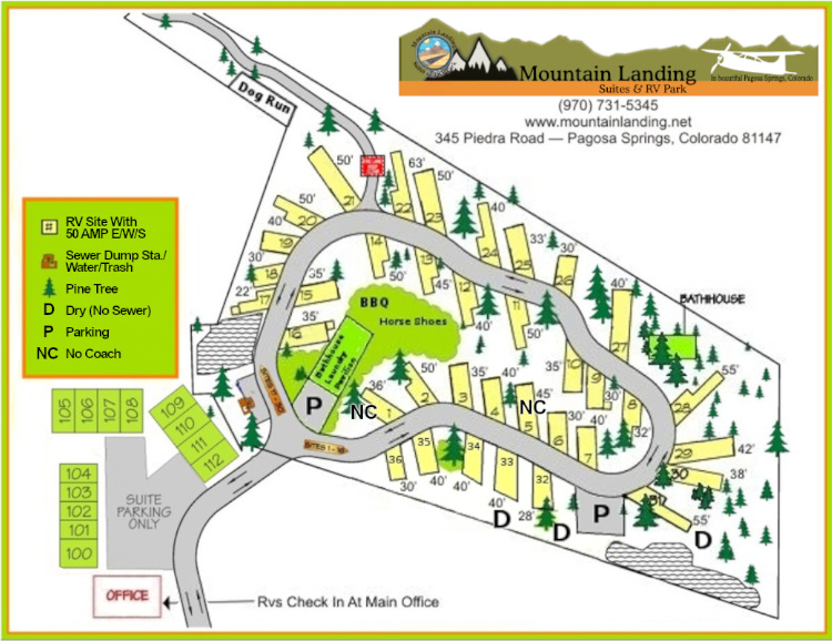 Mountain Landing Suites and RV Park Map